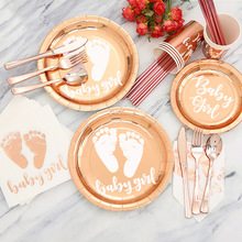 Baby Girl Theme Birthday Party Supplies Disposable Tableware Set Rose Gold Plates Napkins Knifes Baby Shower Party Decorations