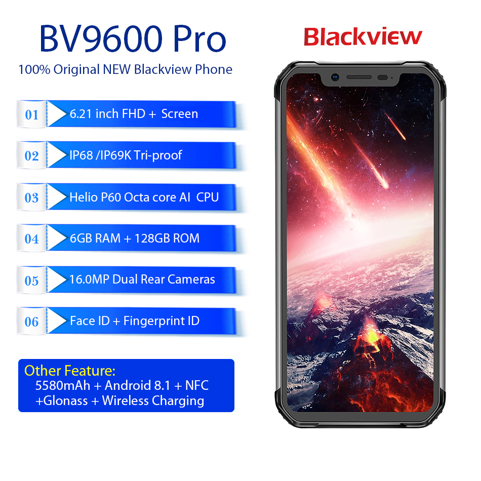 Смартфон BLACKVIEW BV9600 Pro IP68 6 ГБ + 128 Гб 16MP Face ID 6,21 дюйма FHD + Беспроводная зарядка NFC 4G Android 8,1 GPS мобильный телефон - 2