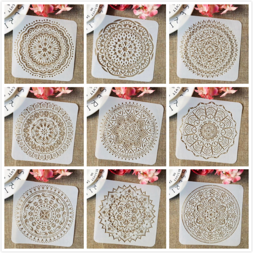 9Pcs/Set 6*6inch Mandala Circle Geometry DIY Layering Stencils Painting Scrapbook Coloring Embossing Album Decorative Template