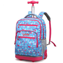 Schoolbag Trolley Bags For Teenagers 18 Inch School Wheeled Backpack Girls On Wheels Children Luggage Rolling