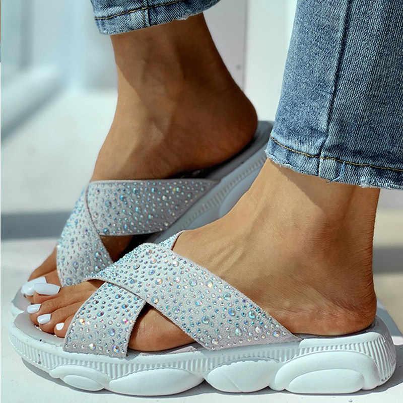 Kadın yaz Bling kristal kayma terlik bayanlar işık platformu kama ayakkabı kadın moda rahat kadın plaj terlik 2020 yeni