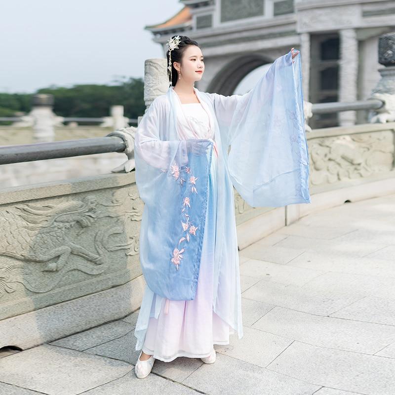 2020 Hanfu Coat Women Female Hanfu Cloak Chinese Style Gradient Ramp Chinese Traditional Ancient Embroidery Performance Coat