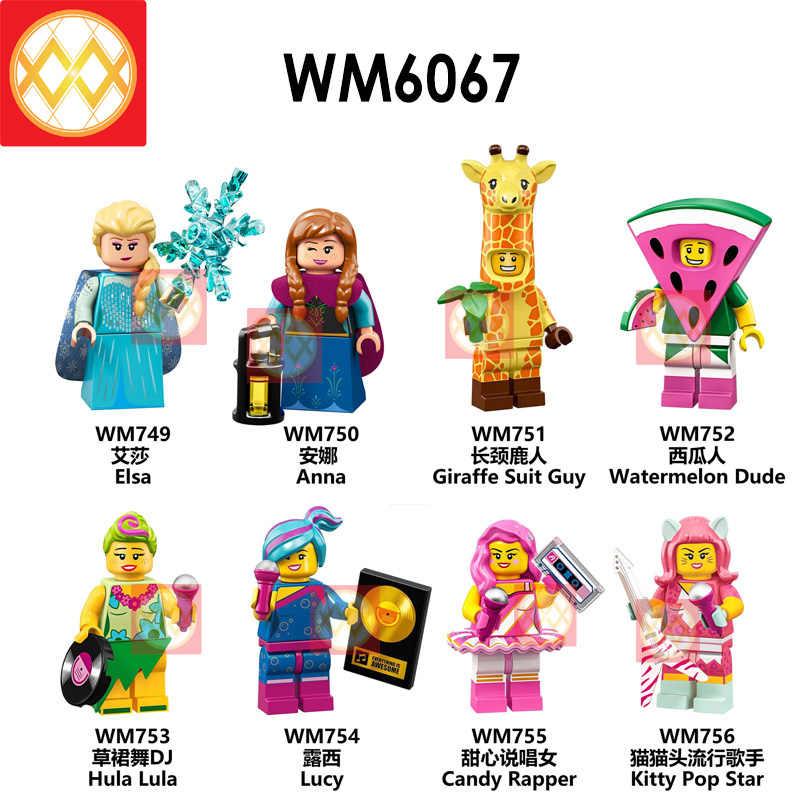 Elsa Anna jirafa traje Guy Hula Lula Kitty Pop estrella WM6067 bloques de construcción regalos de Navidad para niños Juguetes