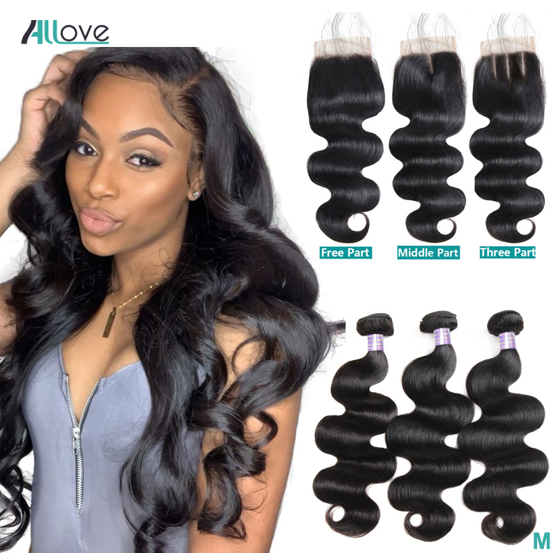 Brazilian Body Wave Bundles With Closure 100% Human Hair Bundles With Closure Allove Hair 3 Bundles With Closure Non-Remy