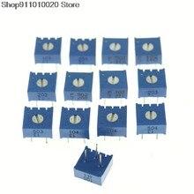 10Pcs 3386P Trimpot Trimmer Potentiometer 100R 500R 1K 2K 5K 10K 20K 100K 500K Ohm 3386P-1-103LF 202LF 104LF 102LF 101LF 3386