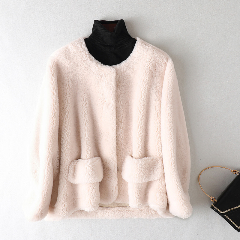 Autumn Winter Coat Women Clothes 2020 Streetwear Wool Jacket Real Fur Coat Korean Vintage Sheep Shearling Suede Lining ZT3397