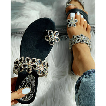 Fashion Summer Women Open Toe Ring Sandals Summer Flat Beach Sandals Embellished Rhinestone Slip On Sandals D30 цена 2017