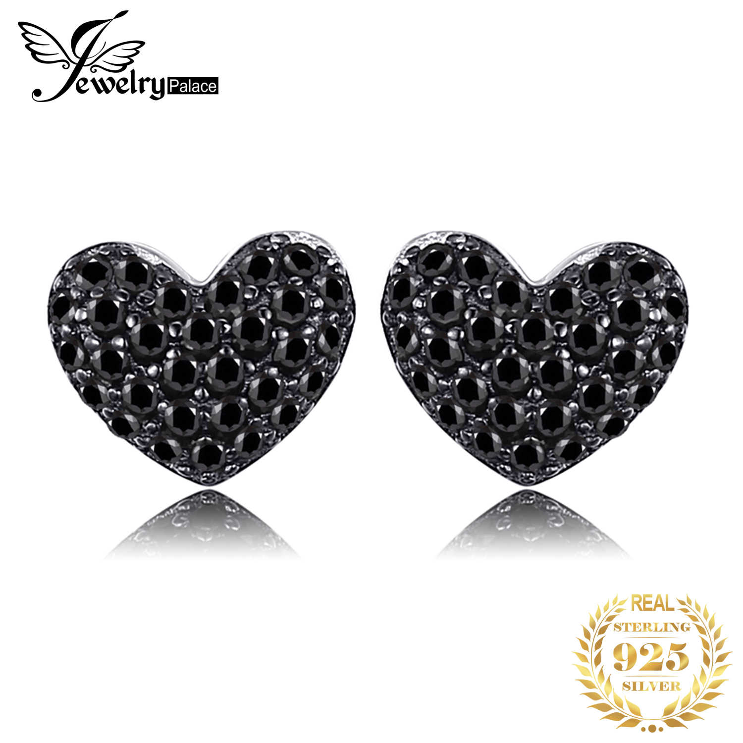 Jewelrypalace Cinta Jantung Asli Hitam Spinel Stud Earrings 925 Sterling Silver Anting-Anting Wanita Korea Anting-Anting Fashion Perhiasan