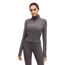 """Для женщин длинный рукав, для йоги рубашка Спортивная одежда с застежкой """"молния"""" быстросохнущая спортивный костюм Женская Беговая куртка пальто для фитнеса, верхняя одежда"""
