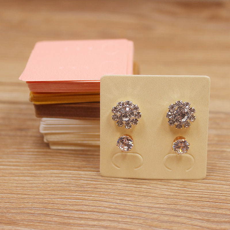 100Pcs DIY Colorful Paper Earring Tags Kraft/pink/ivory Ear Studs Earrings Jewelry Package Tag Card Two Pirs Stud Earring Tag