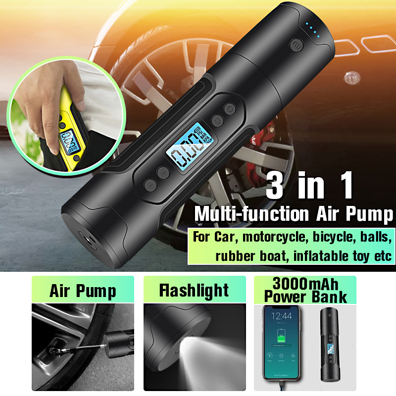 35L/min Cordless Portable Air Compressor 150PSI Tire Inflator For Car Motor Bicycle Tire Pump With Digital LED Light Power Bank Inflatable Pump     - title=