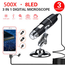 ABS 500X Mobile Phones Photos Digital Microscope Hand Held Endoscope Durable Monitoring Real-Time Video