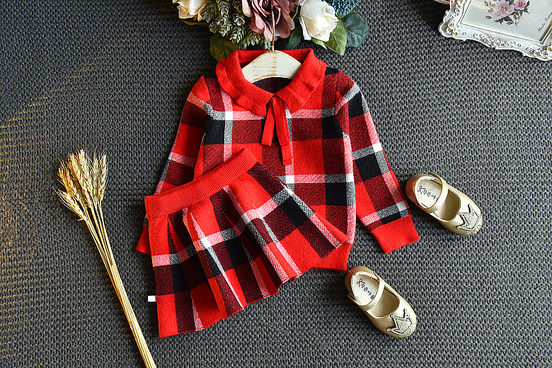 Baby Girls Winter Clothes Set Christmas Outfits Kids Girls Plaid Knit Sweater&skirt Fall Girl Clothing Set Children Costume 24