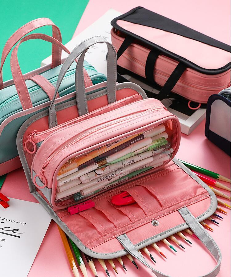 Multifunctional Pencil Bag Waterproof Oxford Detachable Pen Bag For School Pencil Case Cosmetic Case Stationery Storage