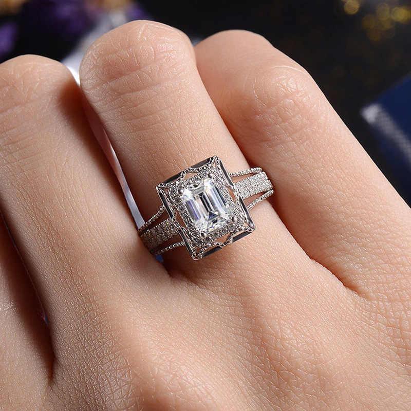 แฟชั่นผู้หญิง Square Zircon แหวนหมั้นหรูหราเงิน Love งานแต่งงานแหวน Minimalist แหวนคริสตัลคริสตัลสำหรับผู้หญิง