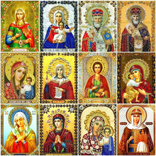 Diy Diamond Painting Virgin Mary Pictures By Rhinestones Mosaic Religion Icon Full Round Kit DIY Embroidery Home Decor