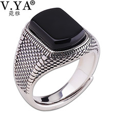 V.YA Black Stone Ring for Men Women Real 925 Sterling Silver Open Size Vintage Wedding Rings Thai Silver Jewelry