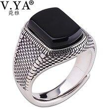 V.YA siyah taş yüzük erkekler kadınlar gerçek 925 ayar gümüş açık boy Vintage alyanslar tay gümüş takı