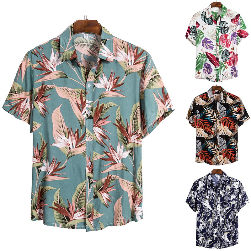 2021 New Arrival Men's Shirts Men Hawaiian Camicias Casual One Button Wild Shirts Printed Short-sleeve Blouses Tops 1