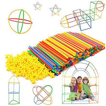 100 pièces enfants pailles en plastique blocs de Construction jouets de Construction enfants pensée spatiale jeux assemblage jouet