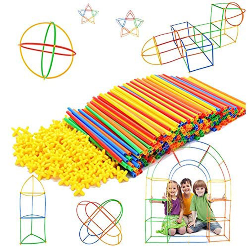 100Pcs Kids Plastic Straws Building Blocks Construction Toys Children Spatial Thinking Games Assembly Toy