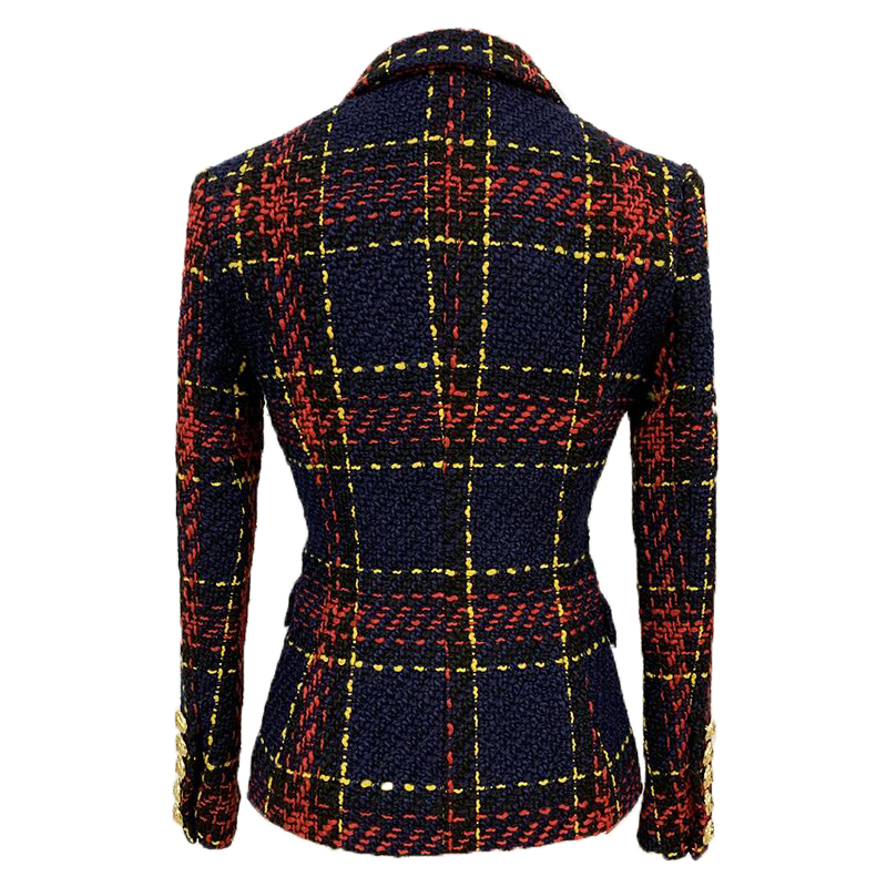 Newest 2020 Designer Jacket Women's Lion Buttons Double Breasted Slim Fitting Plaid Tweed Blazer