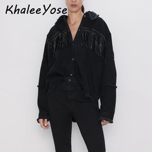цены KHALEE YOSE Black Tassels Denim Jackets Rivet Autumn Jacket Long Sleeve Oversized button front Frayed trim Streewear Women Coat