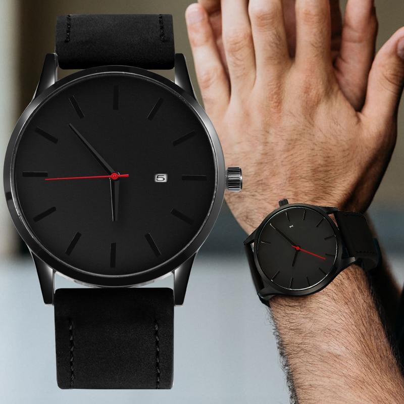 Simple Men Quartz Watch Relogio Masculino Military Sport Wristwatch Leather Strap Mens Reloj Complete Calendar Watches Hom Saati 4