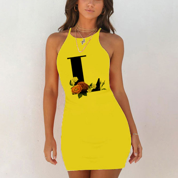 Sexy Nightwear Sleepwear Nightgown Night Shirts Summer Women 26 English Alphabet Print Pack Hip Nightie Yellow Night Dress 2