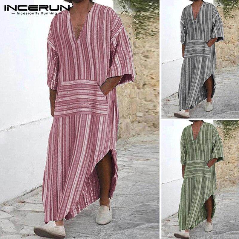 INCERUN Street Casual Men Chic Stripe Long Sleeve Muslim Kaftan Long Tops Fashion V Neck Retro Jubba Thobe Cotton Mens Robes
