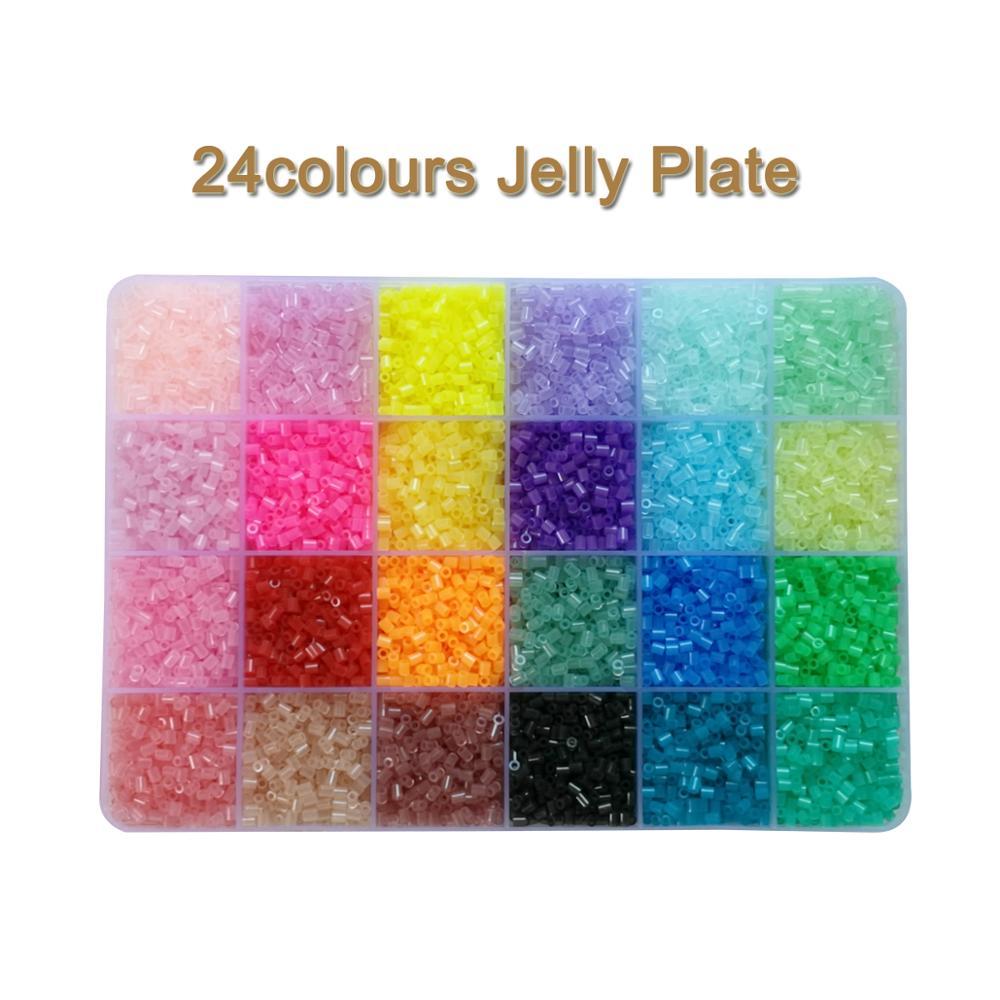 Yantjouet 2.6mm 24colours Jelly Colour Plate Kits 13200pcs Puzzle Hama Perler Beads Set Diy Box Pegboard Iron Beads Fuse Toy