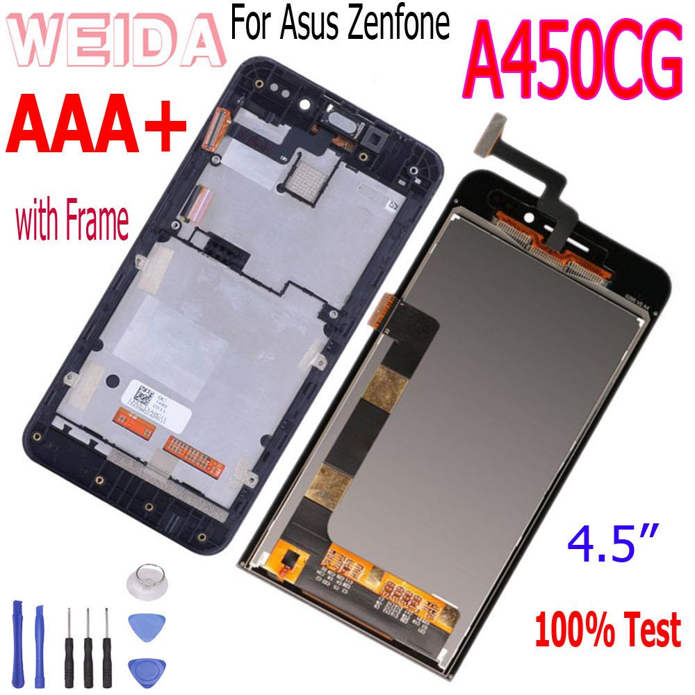 WEIDA For Asus Zenfone 4 A450CG T00Q <font><b>LCD</b></font> Display <font><b>Touch</b></font> Screen Digitizer Assembly Frame <font><b>4.5</b></font> <font><b>Inch</b></font> Black Replacement <font><b>With</b></font> Tools image