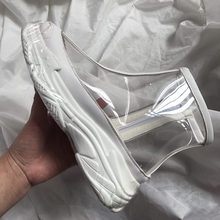 PVC Transparent Rain Boots Women Waterproof Martin Boots Water Jelly Shoes Round Toe Med Heels Ankle Boots Women Shoes MAZIAO