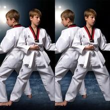 white taekwondo uniforms wtf karate judo taekwondo dobok clothes children adult unisex long sleeve tkd clothing Traditional Children's Dobok Taekwondo Clothes Adult Long Sleeve WTF Karate Uniform White Cotton Men Women Fitness Training Suit