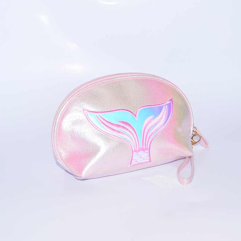 Laamei laser dos desenhos animados sereia bolsa de maquiagem feminina saco de cosméticos com zíper maquiagem bolsa de viagem organizador de higiene pessoal caso de beleza
