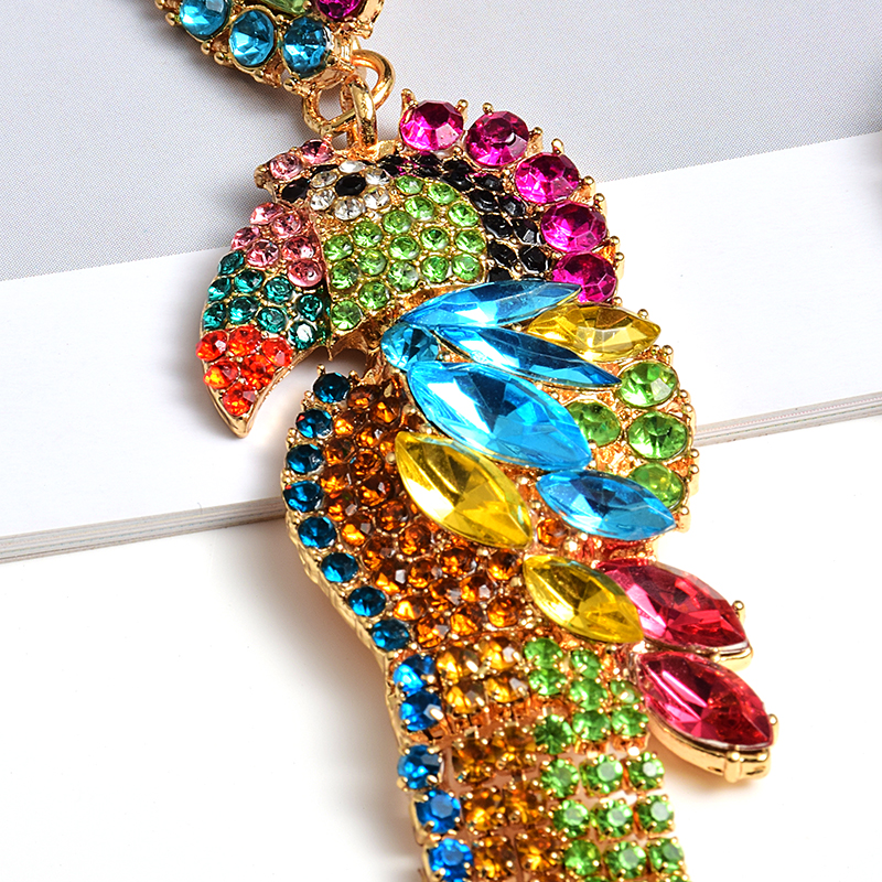 ZA New Bird-Shaped Colorful Rhinestone Metal Long Dangle Drop Earrings Fine Crystals Chain Tassels Jewelry Accessories For Women
