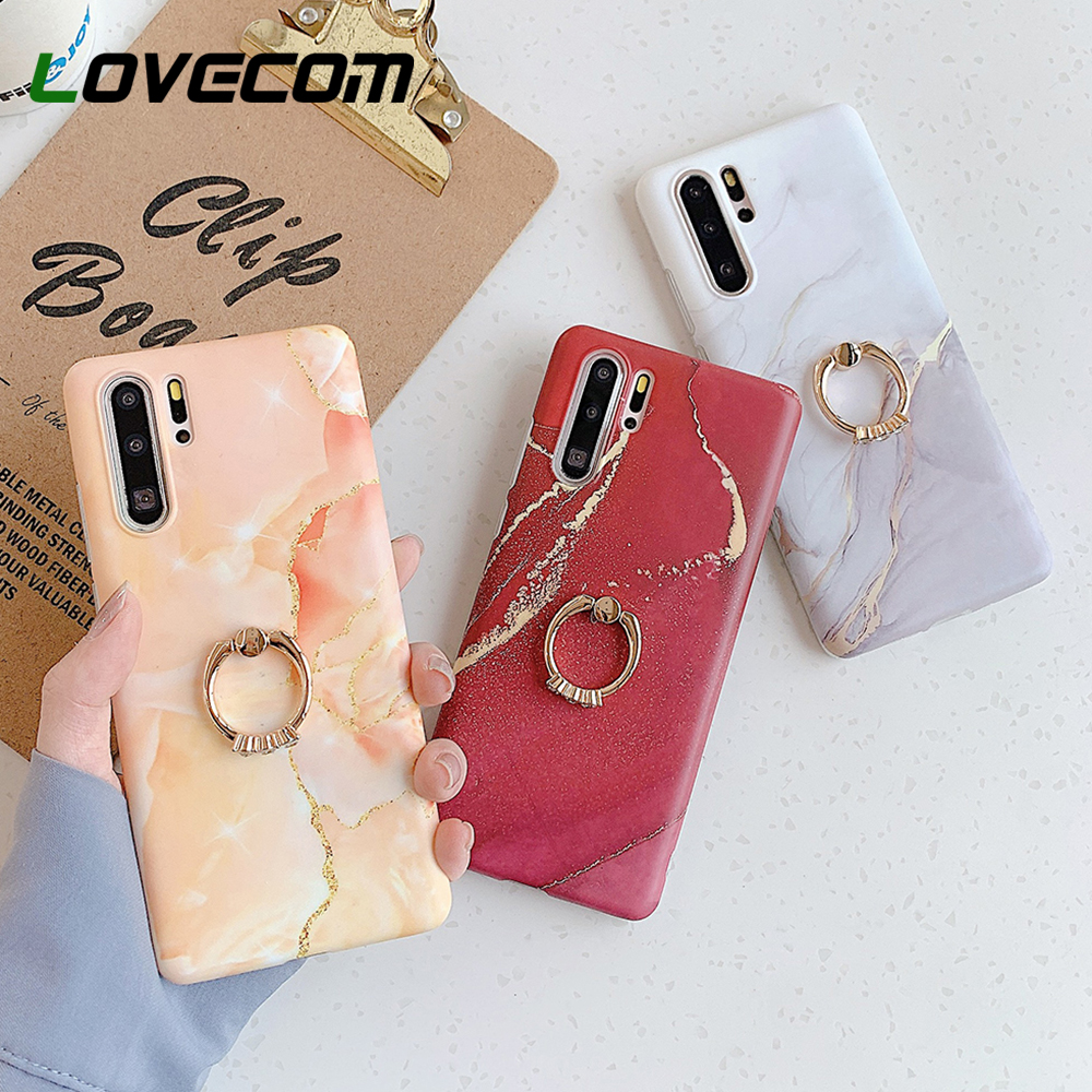 LOVECOM Gradient Marble Phone <font><b>Case</b></font> <font><b>With</b></font> <font><b>Ring</b></font> Holder For Samsung S20 S8 S9 S10 Plus <font><b>Note</b></font> 8 <font><b>9</b></font> 10 Soft IMD Matte Phone Back Cover image