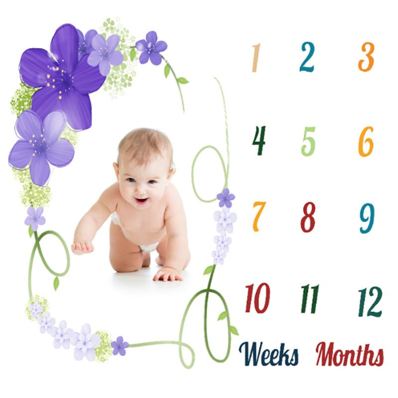 Milestone Blanket Newborn Photography Props Baby Monthly Blanket Shower Gifts D7YD