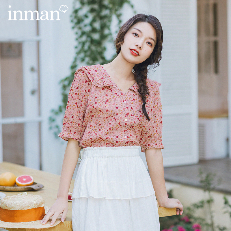 INMAN Summer New Arrival Romantic Style Half Elastic Sleeve Lotus V Neck Collar Floral Cotton Blouse Tops