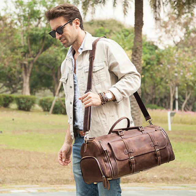 CONTACT'S Travel Men Handbags Crazy Horse Leather Duffle Luggage Bag Large Capacity Vintage Suitcase Tote Bag Male Shouder Bags 2