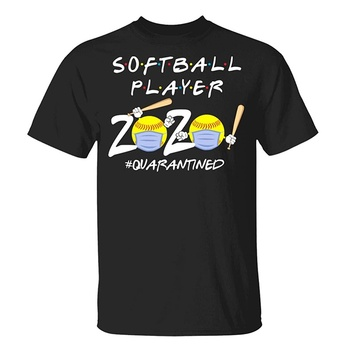 Funny Softball Hitting Stride Chasing Ball 2020 T-Shirt - Stay at Home Quarantined 2020 Softball Lover Shirt image