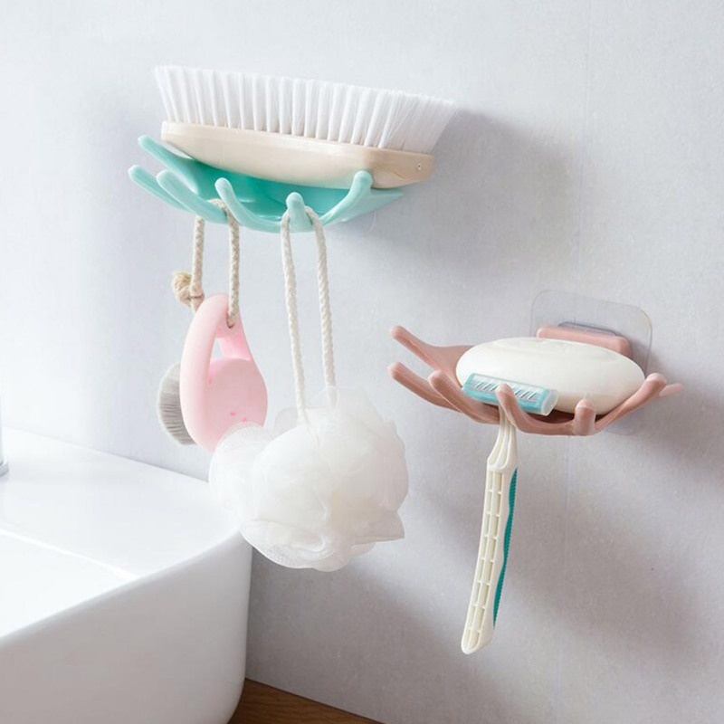 Hand Shape Bathroom Wall Mounted Plastic Soap Drain Rack Strong Paste Soap Storage Plate Tray Holder Bathroom Accessories