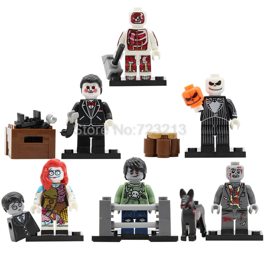 6pcs/lot ZOMBIE WORLD Skeleton Monster Figure Set Ghosts Dog Walking Dead Model Building Blocks Bricks Toys Legoing