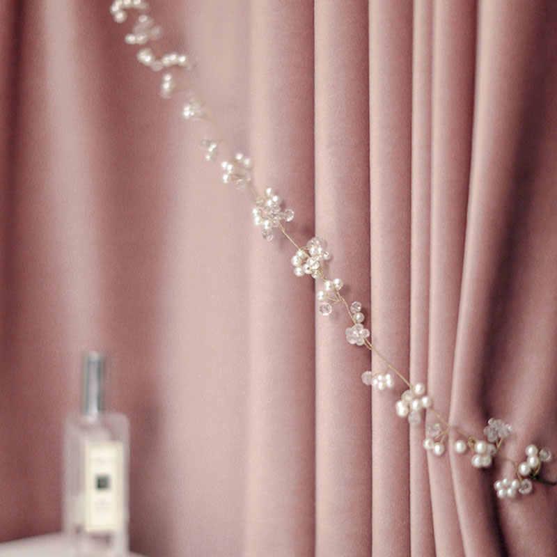 Di lusso Nordic Velluto Francese Tende Della Finestra di Colore Rosa/verde Addensato Tende Oscuranti per Soggiorno camera Da Letto