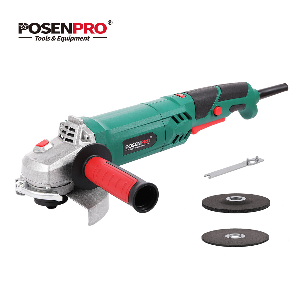 Electric Angle Grinder 1100W 125mm Variable Speed 3000-12000RPM Toolless Guard for Cutting Grinding Metal