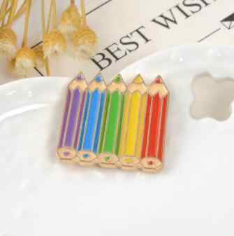 Love Is Love Colorful Rainbow Drawing pencil crayon Pin Gay Pride Brooch Pride Badge Coloring Cartoon Enamel Pin Brooches