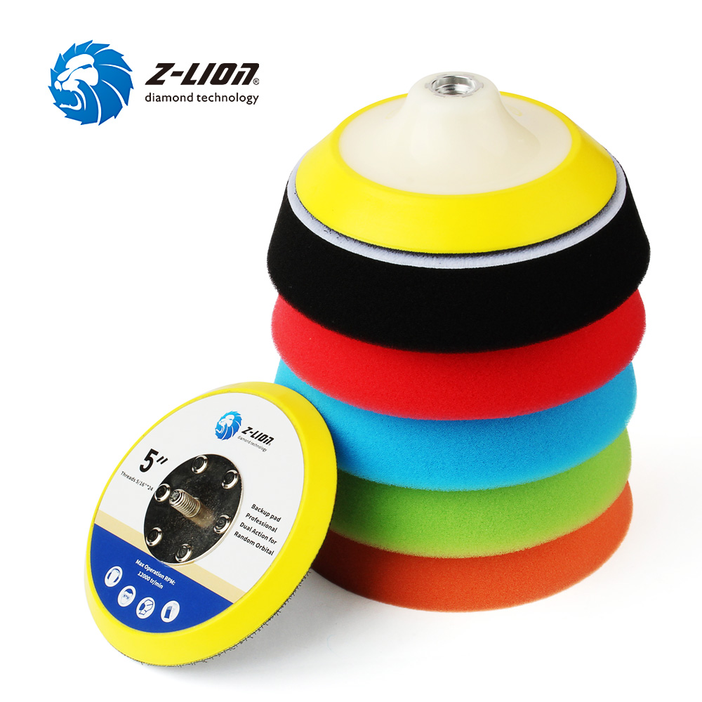 Z-LION 6 Inch Car Polishing Pads Foam Sponge Buffing Pads Kit With Backer Pad Car Waxing Cleaning Polisher Tool