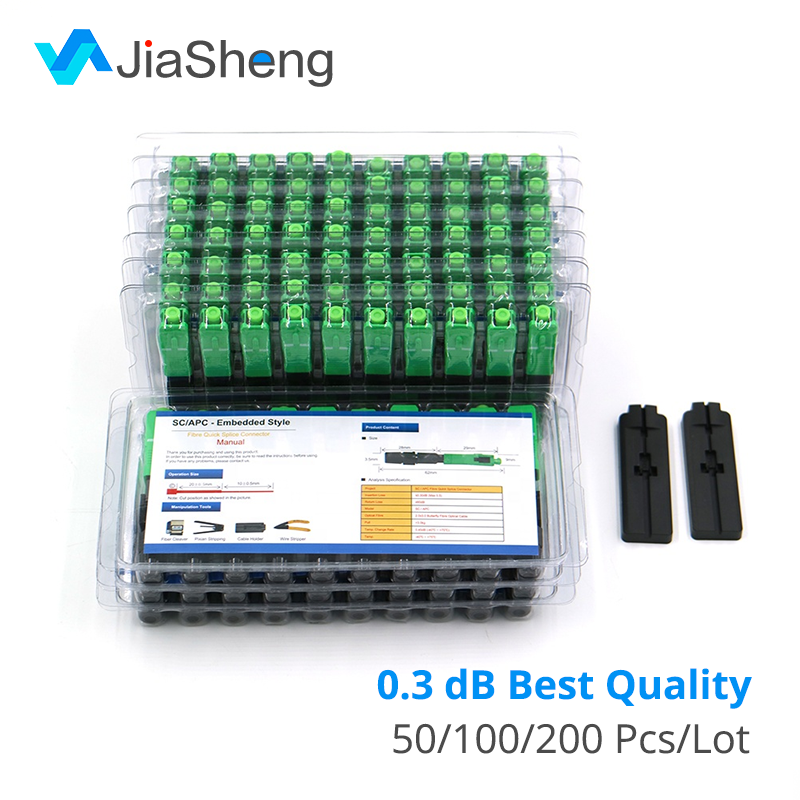 100PCS/box FTTH SC/APC Single-mode Fiber Optic SC APC Quick ConnectorFiber Optical Fast Connector