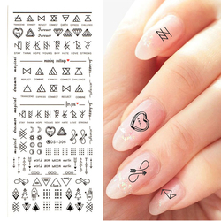 1 Pcs Japanese Nail Art Jewelry Super Bo Watermark Full Sticker 3D Nail Polish Lace Applique Lattice Letter Strip Sticker