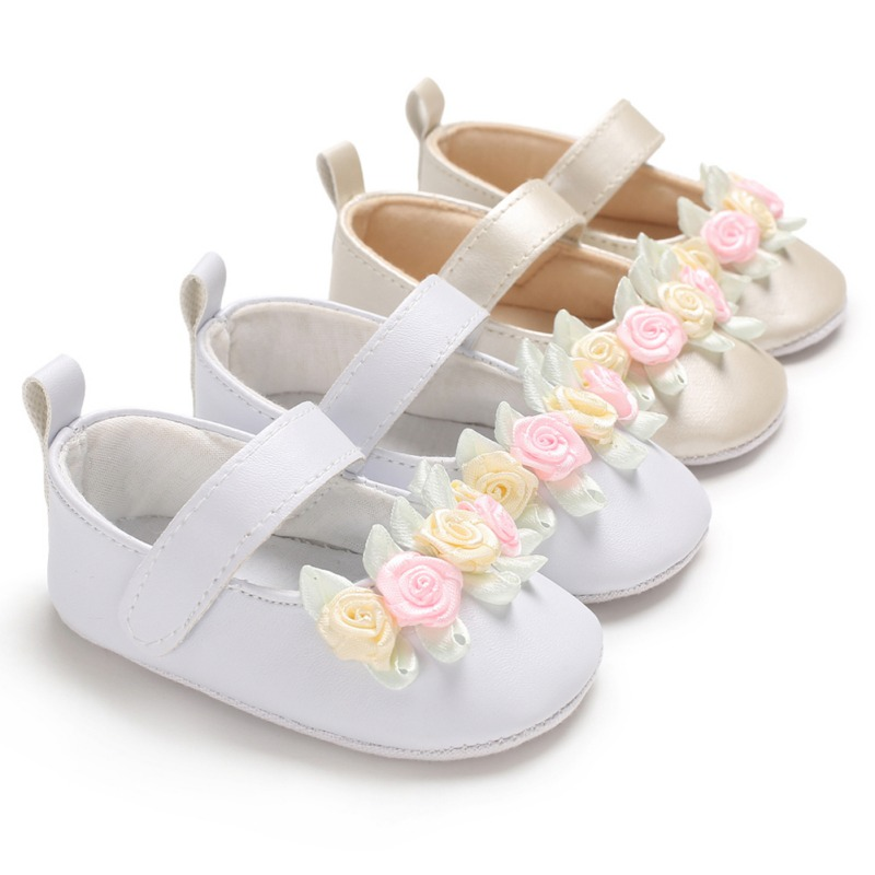 Fashion Baby Girl Casual Sweet Flower Prewalker Soft Sole Indoor Mary Jane Shoes Infant Toddler Crib Baby Footwear